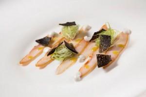 Aqualux Hotel Spa Suite & Terme Restaurant EVO geräucherter Stör mit Calvisius Kaviar zu Lauch- und Selleriejogurt
