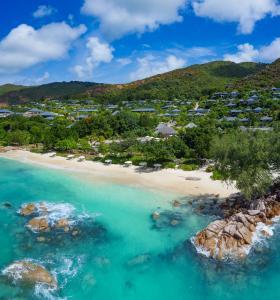 Raffles Seychelles Aerial Beach View